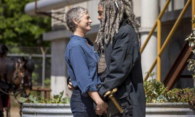 Khary Payton as Ezekiel, Melissa McBride as Carol Peletier- The Walking Dead _ Season 9, Episode 1 -