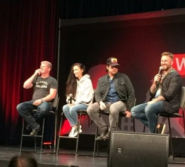 Michael Cudlitz, Christian Serratos, Josh McDermitt, and moderator James Frazier at Walker Stalker Atlanta 2018 photo credit: Tameche Brown