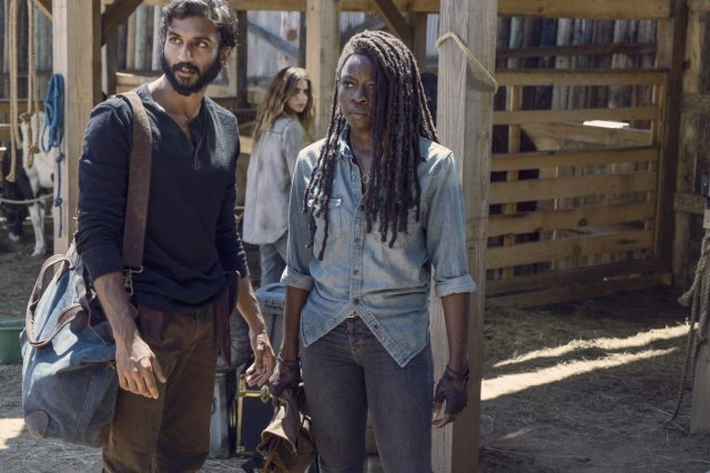 Avi Nash as Siddiq, Danai Gurira as Michonne, Nadia Hilker as Magna - The Walking Dead _ Season 9, Episode 8 -
