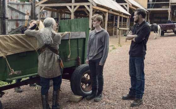 Melissa McBride as Carol Peletier, Matt Lintz as Henry, Callan McAuliffe as Alden- The Walking Dead _ Season 9, Episode 8 -