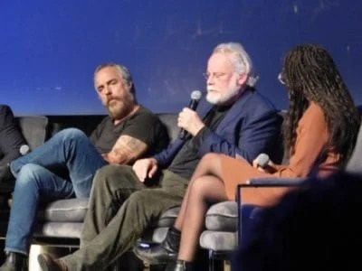 Titus Welliver, Michael Connelly and moderator Hunter Harris (Vulture Magazine) at SCAD aTVfest 2019 photo credit: Tracey Phillipps