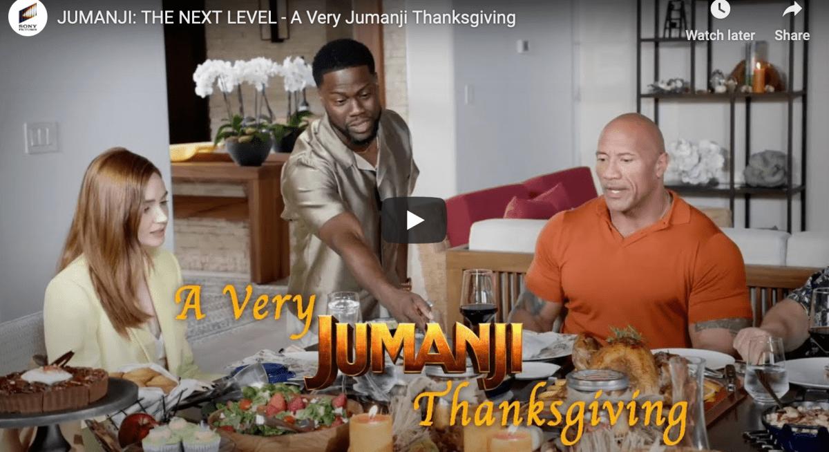 A 'Jumanji' Thanksgiving with Dwayne Johnson and Kevin Hart
