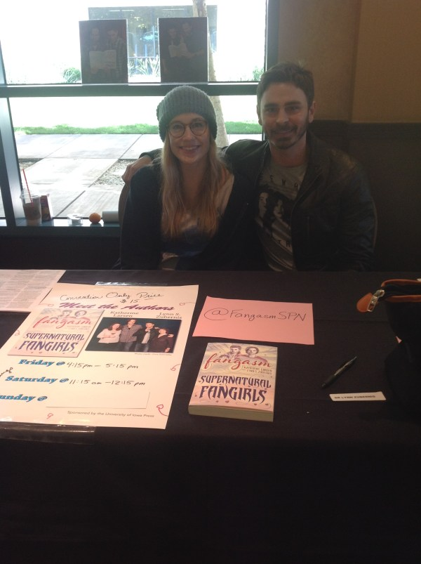Jenny Klein and Eric Charmelo at the Fangasm table at Burcon