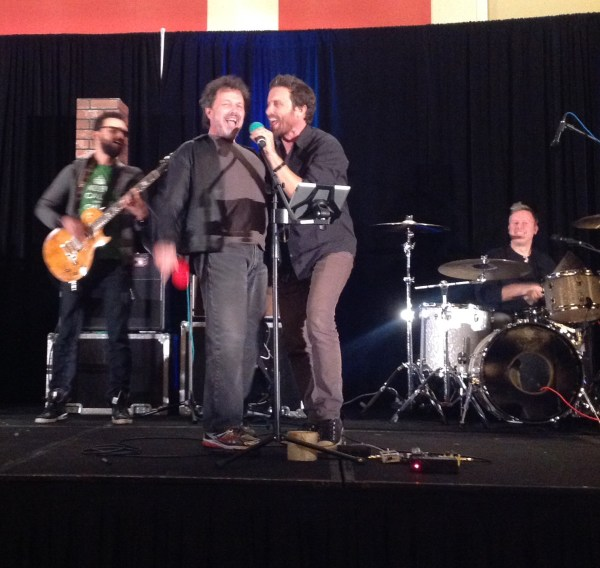 Curtis sings with Rob Benedict and Louden Swain at the con