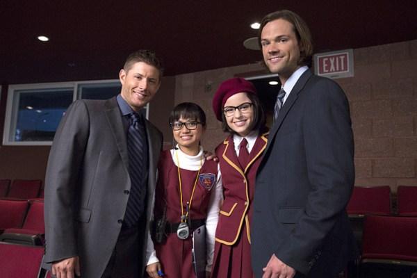 Joy Regullano and Katie Sarife with Jared and Jensen