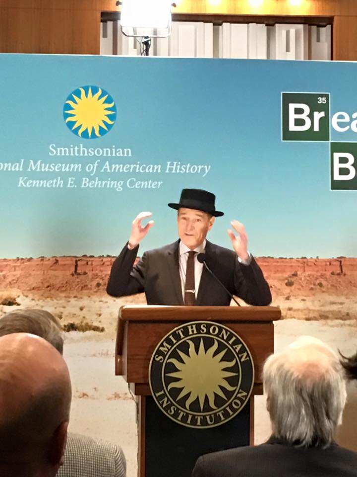 Bryan Cranson at the Smithsonian in Heisenberg hat from Breaking Bad
