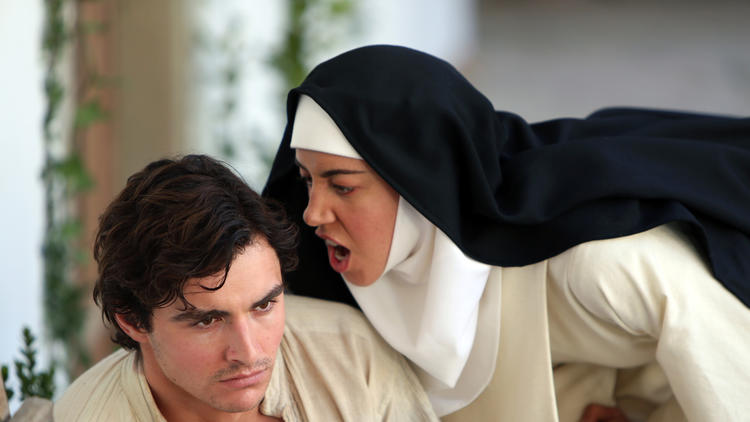 Aubrey Plaza in nun outfit screaming at Dave Franco in The Little Hours