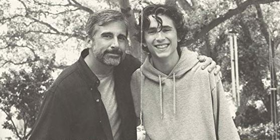 steve carrell with his arm around timothee chalamet in beautiful boy