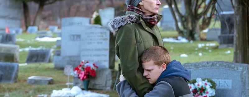 Lucas Hedges hugging Julia Roberts in cemetery in Ben is Back