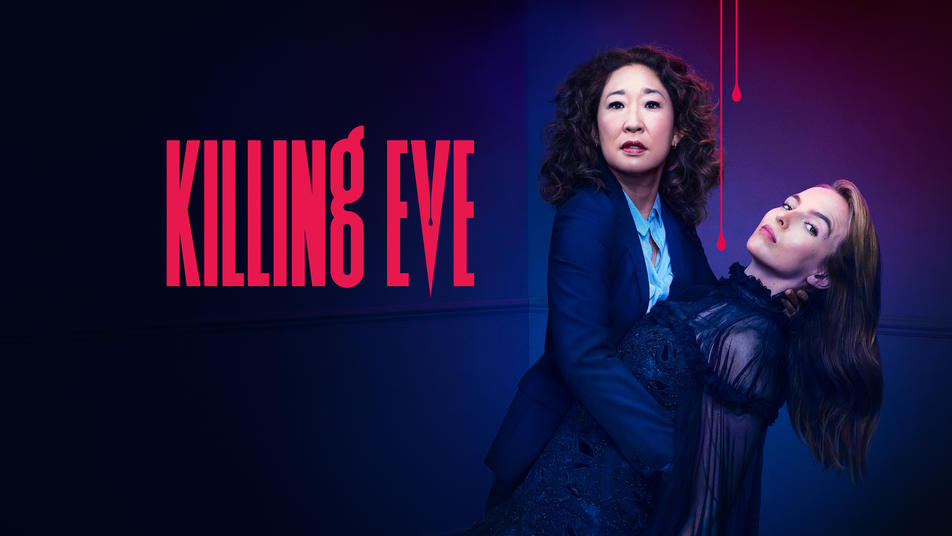 Killing Eve poster Sandra Oh dipping Jodie Comer