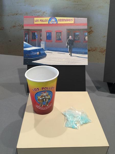 Breaking Bad props Los Pollos Hermanos cup and blue meth