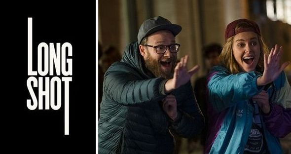 charlize theron and seth rogen high in the long shot movie poster