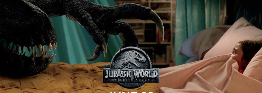 dinosaur creeping up on girl in bed with jurassic world fallen kingdom movie poster