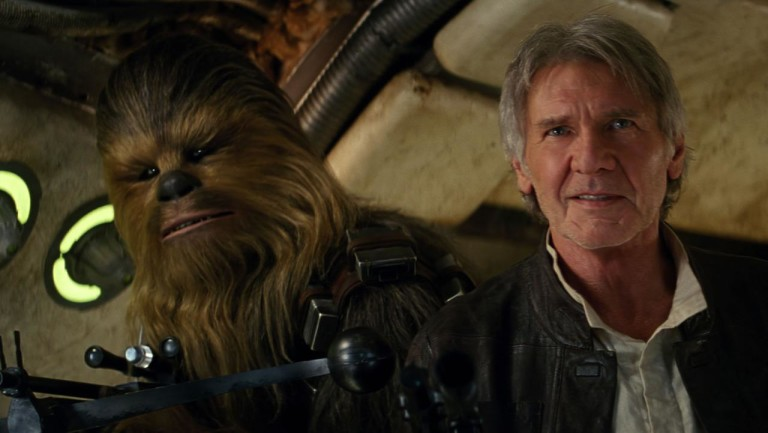 Chewbacca and Harrison Ford as Han Solo