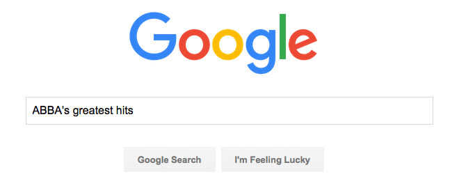 Google Search for Abba's Greatest hits