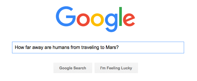 Google search for human travel to Mars
