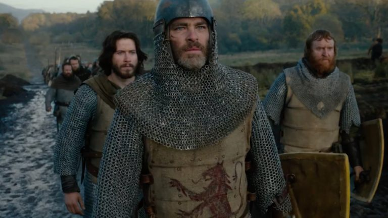 Chris Pine in chainmail and armor as Robert the Bruce in Outlaw King