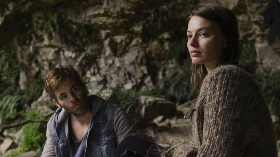 Chris Pine and Margot Robbie outside in Z for Zachariah