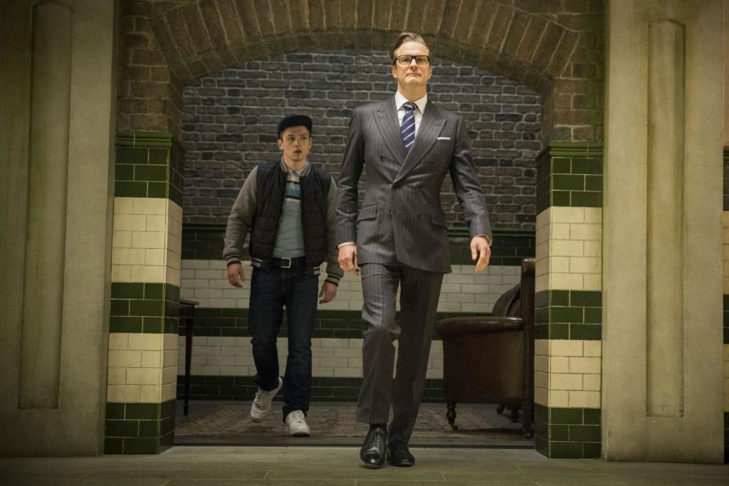Colin Firth and Taron Egerton walking in Kingsman