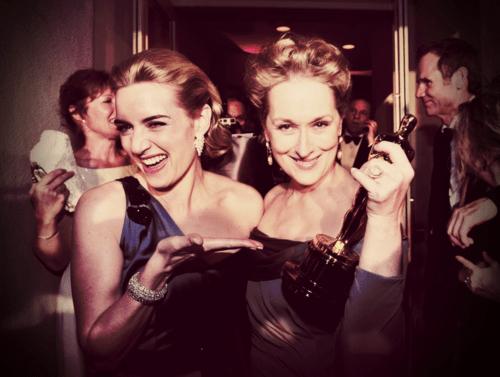 Kate Winslet and Meryl Streep at the Oscars