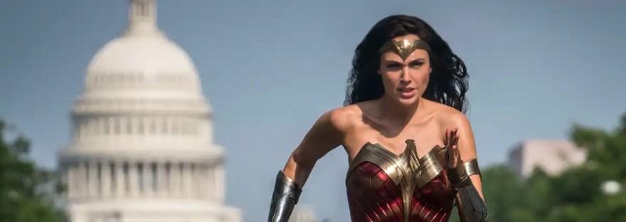 Gal Gadot as Wonder Woman running outside of U.S. Capitol in Washington DC