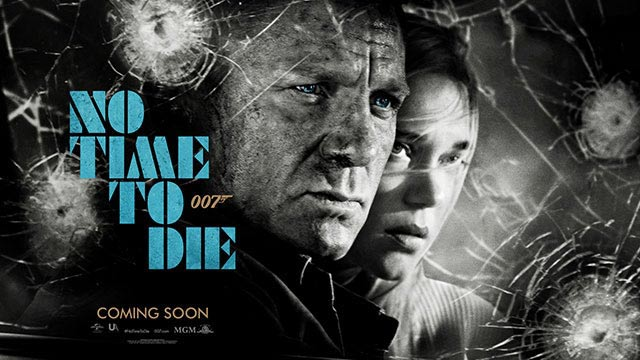 No Time To Die Banner with Daniel Craig as James Bond and bullet holes
