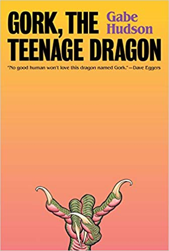 """Book cover: Gork, The Teenage Dragon by Gabs Hudson. Gradient yellow (top) to orange-pink (bottom), with a dragon hand doing the """"rock on"""" bull horns."""