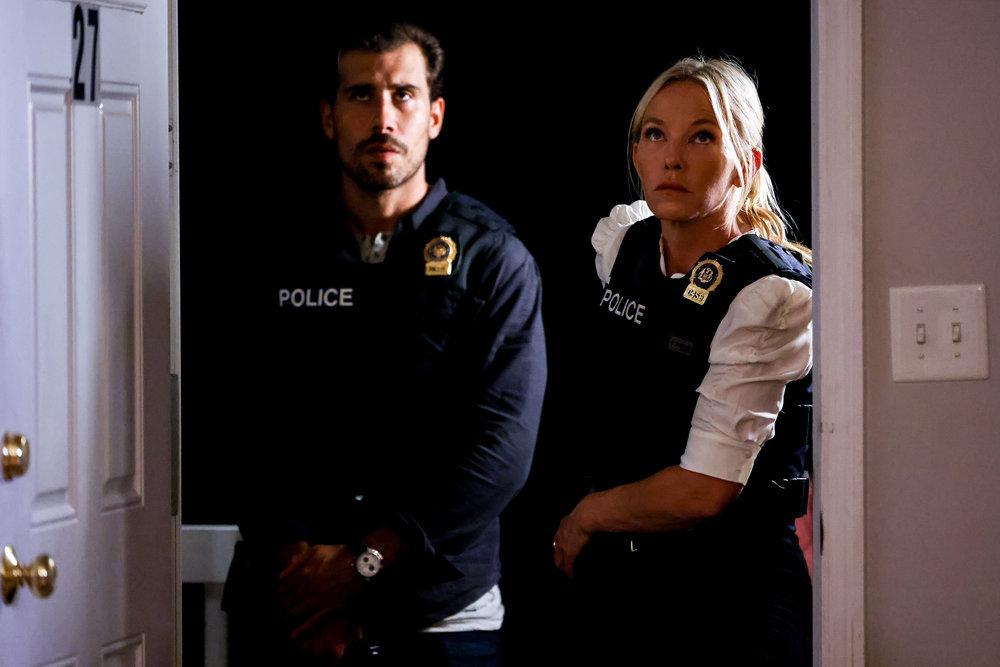 Law & Order: SVU Octavio Pisano as Joe Velasco, Kelli Giddish as Detective Amanda Rollins -- (Photo by: Will Hart/NBC)