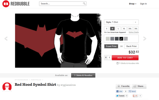 Red Hood logo shirt