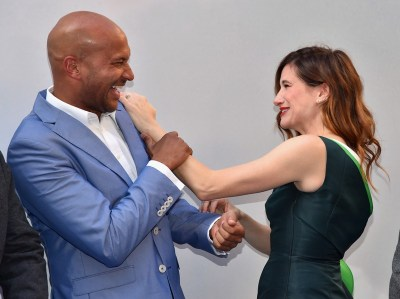 "ANAHEIM, CA - MAY 09: Actors Keegan-Michael Key (L) and Kathryn Hahn attend the world premiere of Disney's ""Tomorrowland"" at Disneyland, Anaheim on May 9, 2015 in Anaheim, California. (Photo by Alberto E. Rodriguez/Getty Images for Disney) *** Local Caption *** Keegan-Michael Key;Kathryn Hahn"