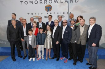 "ANAHEIM, CA - MAY 09: Cast and crew of the film attend the world premiere of Disney's ""Tomorrowland"" at Disneyland, Anaheim on May 9, 2015 in Anaheim, California. (Photo by Jesse Grant/Getty Images for Disney) *** Local Caption *** George Clooney;Tim McGraw;Britt Robertson;Raffey Cassidy;Thomas Robinson;Pierce Gagnon;Kathryn Hahn;Brad Bird;Damon Lindelof;Michael Giacchino;Richard Sherman;Alan Horn;Keegan-Michael Key;Tom Peitzman;Matthew McCaull;John Walker;Jeffrey Chernov;Brigham Taylor;Jeff Jensen"