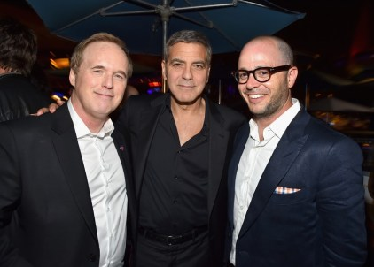 """ANAHEIM, CA - MAY 09: (L-R) Director/writer/producer Brad Bird, actor George Clooney and writer Damon Lindelof attend the after party for the world premiere of Disney's """"Tomorrowland"""" at Disneyland, Anaheim on May 9, 2015 in Anaheim, California. (Photo by Alberto E. Rodriguez/Getty Images for Disney) *** Local Caption *** George Clooney;Brad Bird;Damon Lindelof"""