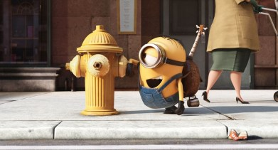 Minion chatting with fire hydrant