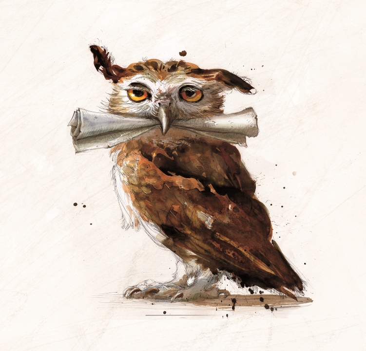 Tired owl with scroll
