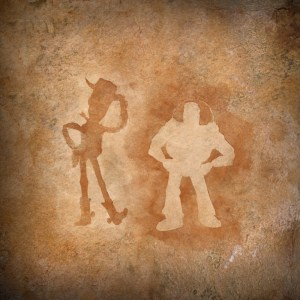 Woody and Buzz Lightyear Cave Painting celebrating twenty years of friendship