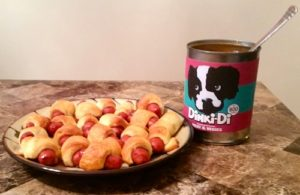 Dinki-Di Dog Food Can and Pigs in a Blanket