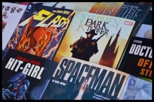 Comic books on rack