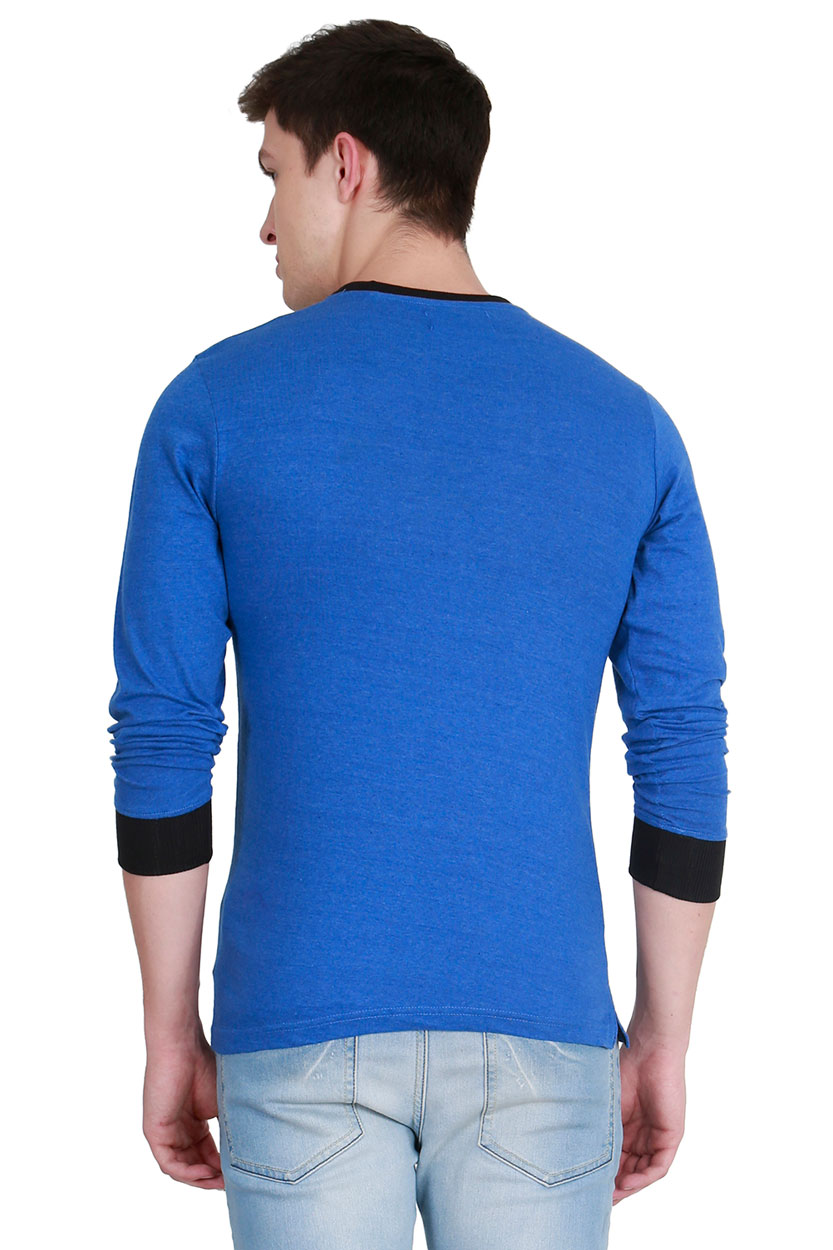0f6fa1a19a3 Fanideaz Men s Cotton Full Sleeve Classic Unique Neck Black T Shirt ...