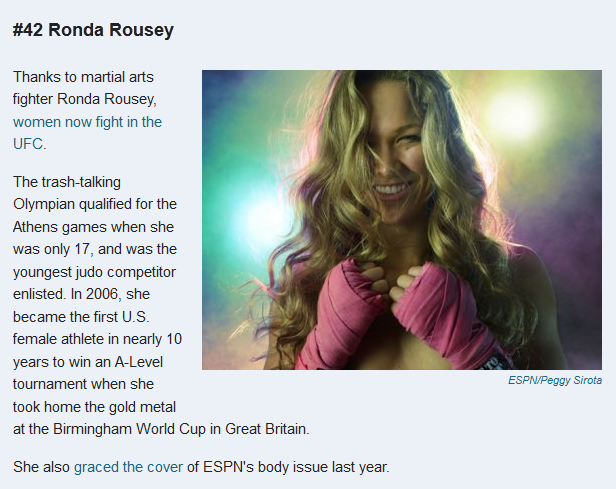 Ronda Rousey women that change the world