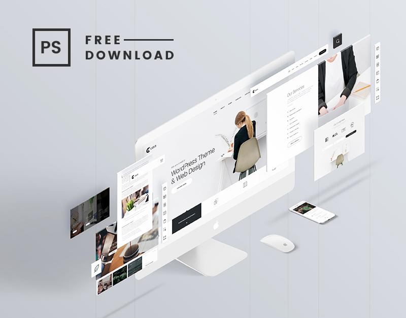 Youpi c'est vendredi et c'est gratuit ! Magnifique mockup pour vos présentations UI design à télécharger