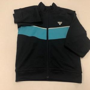 hummel trøje med zip mørkeblå med turkis