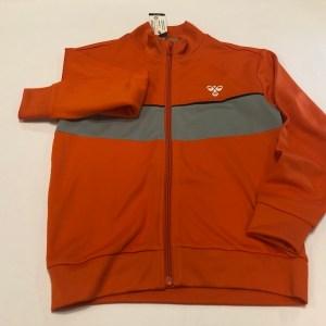 hummel trøje med zip orange med grå