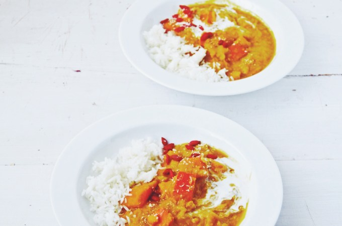 A slightly stressed Fanny and more pumpkin – pumpkin coconut dal with a hint of sweetness