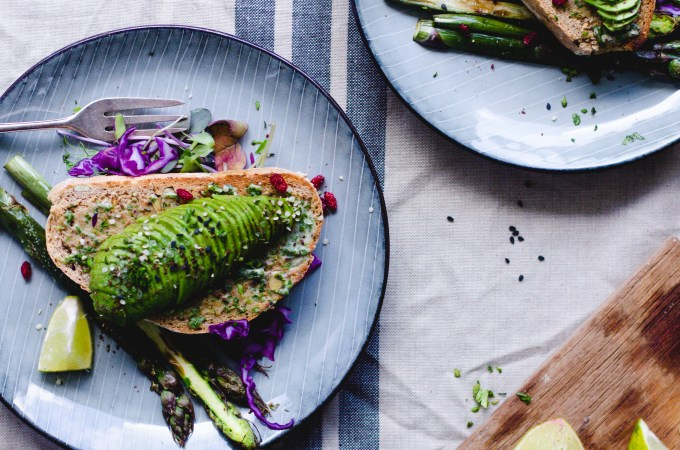 Tahini Avocado Toast with Garlic Asparagus