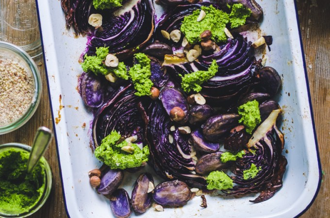 Roasted Purple Veggies / Purple Potatoes, Cabbage & Hazelnuts / Kale Miso Pesto
