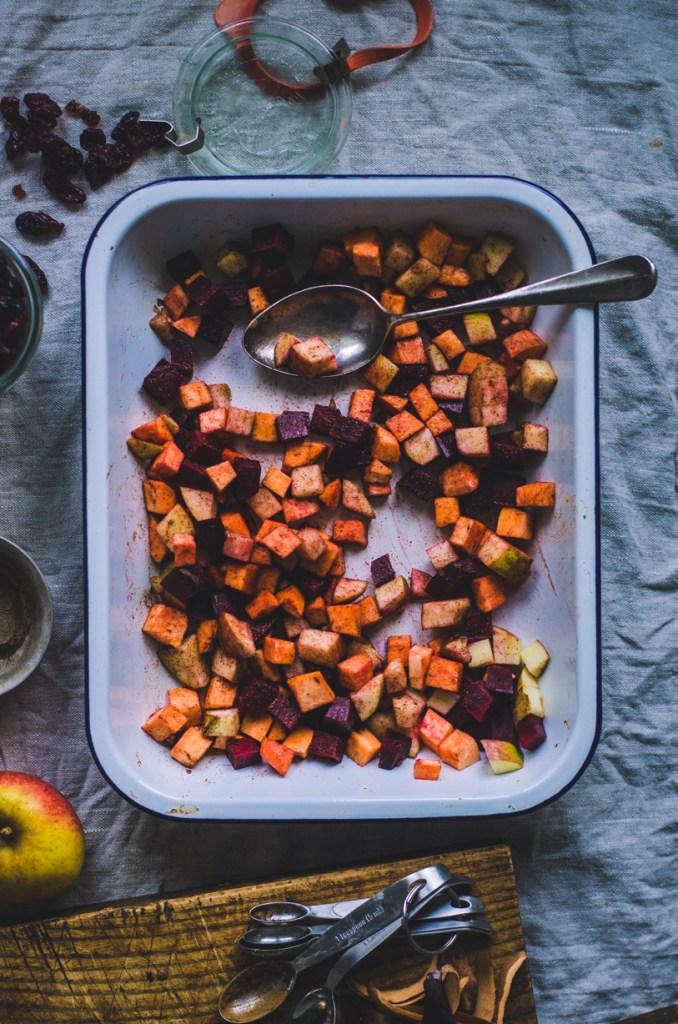 Roasted Root Veggies / Yogurt & CranberriesRoasted Root Veggies / Yogurt & Cranberries