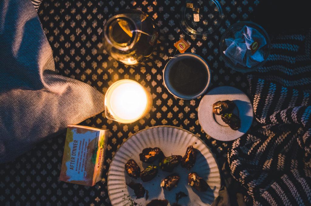 Stuffed Dates / Lipton After Dinner Tea