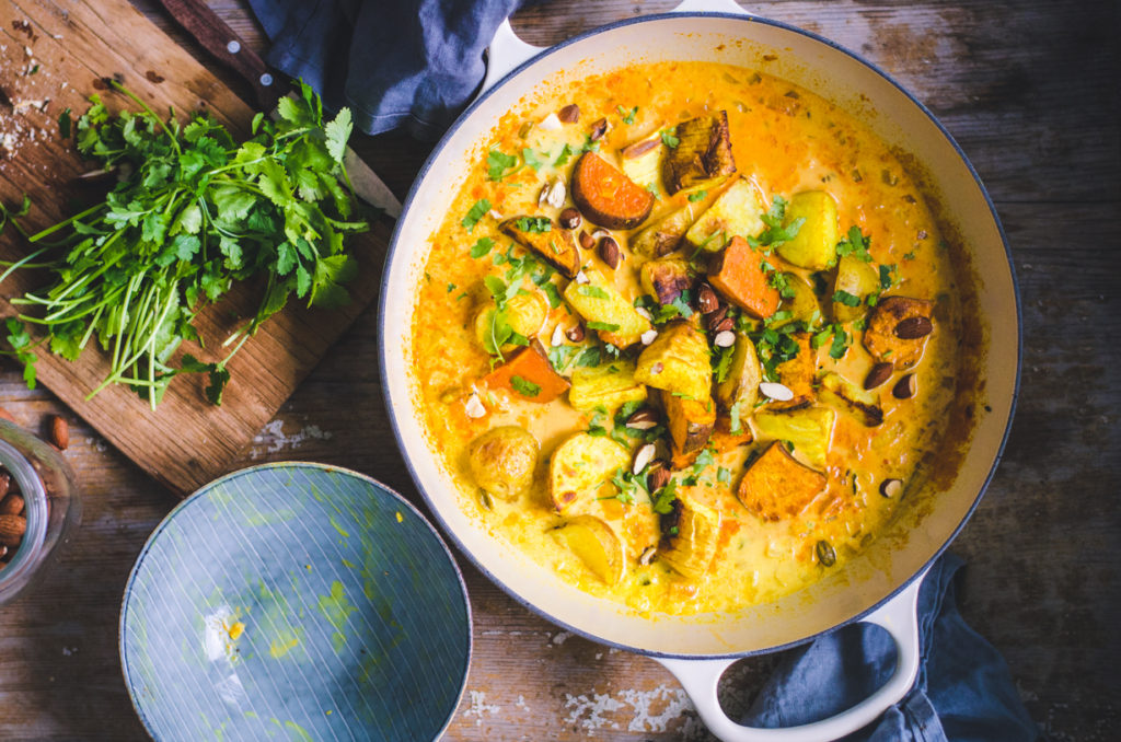 Roasted Root Veggie Curry / Sweet Potato, Potato and Parsnip