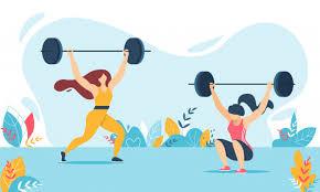 vector twee vrouwen met stang en gewichten
