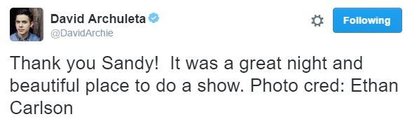 Tweet Sandy post show david archuleta